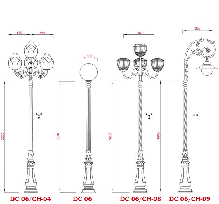 Cột đèn sân vườn DC 06-CH