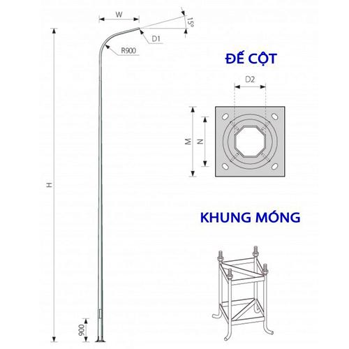 Cột đèn đường 8m